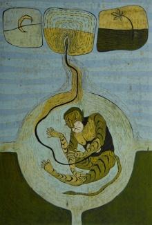Figurative Etching Art Drawing title Utpatti 1 by artist Abhishek Chourasia