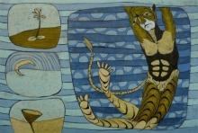 Figurative Etching Art Drawing title Utpatti 2 by artist Abhishek Chourasia
