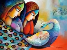 Figurative Acrylic Art Painting title 'Affection 2' by artist Sanjay Tandekar