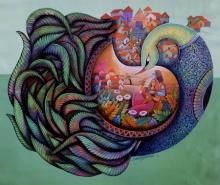 Religious Acrylic Art Painting title Affection 23 by artist Sanjay Tandekar