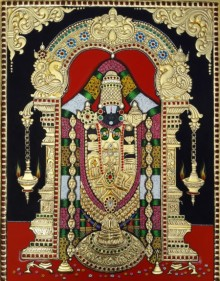 Traditional Indian art title Balaji on Cardboard - Tanjore Paintings