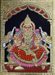 Traditional Indian art title GajLaxmiji on Cardboard - Tanjore Paintings