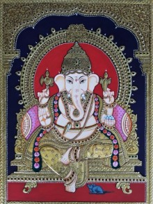 Traditional Indian art title Lord Ganesha on Cardboard - Tanjore Paintings