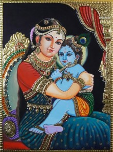 Traditional Indian art title Yeshoda Krishna on Cardboard - Tanjore Paintings