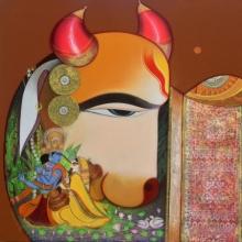 Religious Acrylic Art Painting title Kamdhenu by artist Ashok Rathod