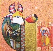 Religious Acrylic Art Painting title Kamdhenu 2 by artist Ashok Rathod