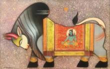 Religious Acrylic Art Painting title Nandi by artist Ashok Rathod