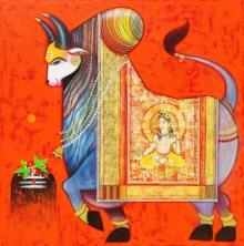 Religious Acrylic Art Painting title Nandi 1 by artist Ashok Rathod
