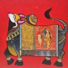 Religious Acrylic Art Painting title Nandi 2 by artist Ashok Rathod