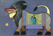 Religious Acrylic Art Painting title Nandi 3 by artist Ashok Rathod