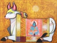 Religious Acrylic Art Painting title Nandi 4 by artist Ashok Rathod