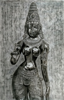 Preeti Ghule | Charcoal Painting title Goddess Lakshmi on Paper | Artist Preeti Ghule Gallery | ArtZolo.com