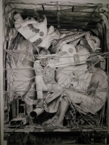 Preeti Ghule | Charcoal Painting title Life on paper | Artist Preeti Ghule Gallery | ArtZolo.com