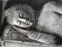 sleeping buddha, charcoal painting of buddha