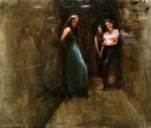 Figurative Oil Art Painting title Dreamy Girls by artist SURABHI GULWELKAR
