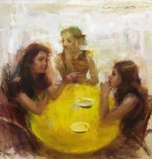 Figurative Oil Art Painting title Gossip by artist SURABHI GULWELKAR