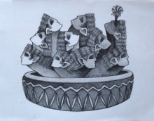 Ravan cactus | Drawing by artist Aditya Pandit |  | pencil | Paper