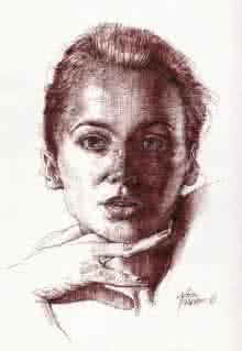 Pencil Paintings | Drawing title Girl Head on Paper | Artist Aditya Phadke