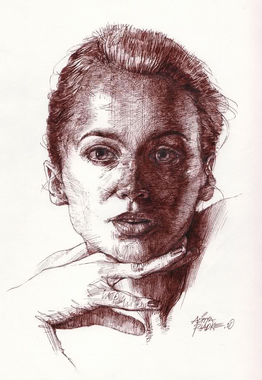 Girl head drawing by artist aditya phadke pencil paper