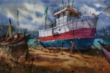 Seascape Watercolor Art Painting title 'Boat' by artist Siddharth Gavade