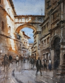 Cityscape Watercolor Art Painting title 'Cityscape 5' by artist Siddharth Gavade