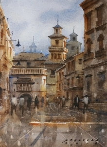 art, painting, watercolor, paper, cityscape