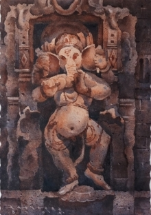 art, painting, watercolor, paper, religious, ganesha