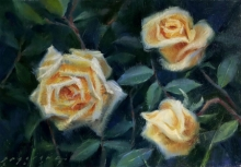 Siddharth Gavade | Oil Painting title Roses on mount board | Artist Siddharth Gavade Gallery | ArtZolo.com