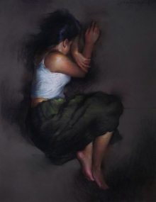 Figurative Pastel Art Drawing title 'Sleeping Lady 1' by artist Siddharth Gavade