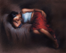 Figurative Pastel Art Drawing title 'Sleeping Woman 2' by artist Siddharth Gavade