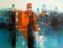 Cityscape Painting 3 | Painting by artist A. Q. Arif | oil | Canvas