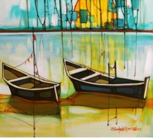 Cityscape 1 | Painting by artist Salman Farooqi | acrylic | Canvas