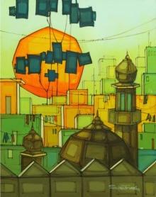 Cityscape 2 | Painting by artist Salman Farooqi | acrylic | Canvas
