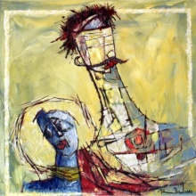 A S Rind | Acrylic Painting title Couple on Canvas | Artist A S Rind Gallery | ArtZolo.com