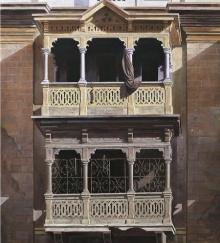 realistic painting, gallery, varanda, bulilding