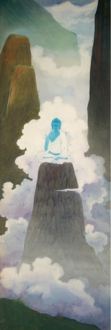 Religious Gouache Art Painting title Buddha by artist Swapan Das