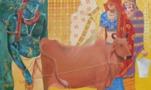 Figurative Acrylic Art Painting title 'Cow Boy' by artist Swapan Das