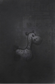 Toys Charcoal Art Drawing title 'Toy 1' by artist Deepak Sinkar