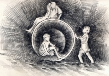 5 Playful kids | Drawing by artist Abhay Gupta | | charcoal | Paper