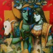 Figurative Acrylic Art Painting title Couple by artist Subrata Das