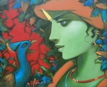 Religious Acrylic Art Painting title Love by artist Subrata Das