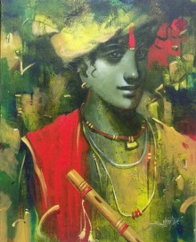 Religious Acrylic Art Painting title Tune Of Love by artist Subrata Das
