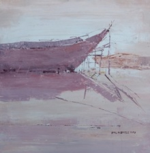 Amol Dubhele | Watercolor Painting title Boat 1 on Paper | Artist Amol Dubhele Gallery | ArtZolo.com
