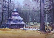 Landscape Watercolor Art Painting title Hadimbadevi Temple by artist Amol Dubhele
