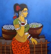 Figurative Acrylic Art Painting title Phone Pe Charcha by artist GAJRAJ CHAVAN