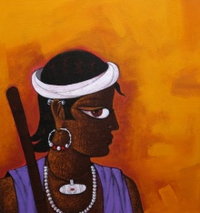 Figurative Acrylic Art Painting title 'Village Boy' by artist GAJRAJ CHAVAN