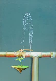 contemporary Acrylic Art Painting title 'Water Is Life' by artist Subhendu Mishra