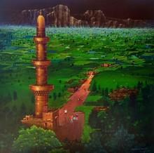 Cityscape Acrylic Art Painting title Devagiri Fort by artist Yogesh Lahane
