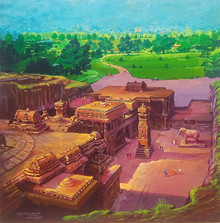 Cityscape Acrylic Art Painting title 'Ellora Caves' by artist Yogesh Lahane