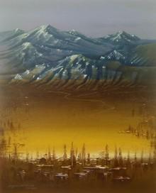 Landscape Acrylic Art Painting title Golden Light by artist Yogesh Lahane